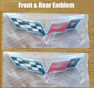 2pcs OEM Front Rear Crossed Flags Emblem Badge for Chevy 2005-2013 C6 Corvette