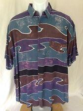 Vtg Island X Hawaii~Blue Purple Black Swirl Abstract Print Rayon S/S Shirt~L