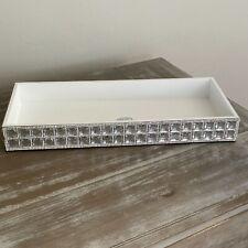 BELLA LUX Full White Rhinestone Crystal  Vanity Tray Bath Accessory Luxury