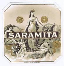 Saramita, original outer cigar box label, woman, coin