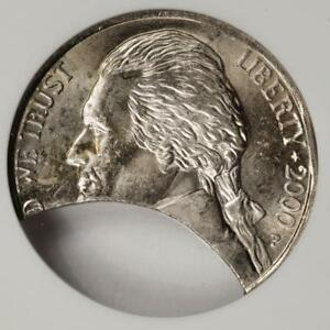 2000 ANACS MS63 Huge Clip and Rim Clip Nickel Mint Error Great Eye Appeal