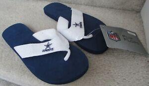 NFL Dallas Cowboys Womens Size Extra Small 5/6 Blue Flip Flops Sandals Sequins