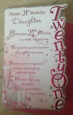 Daughter Birthday 21st Card With Glitter And Sentiment Verses