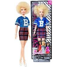 Barbie Fashionistas #91 Short Sporty Shirt Plaid Skirt Blonde Afro Barbie Doll
