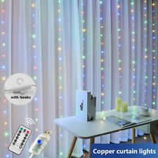100/200/300LED Curtain Fairy Lights USB Party Wedding String Home Remote Control