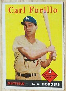 1958 TOPPS BASEBALL SET, #417 Carl Furillo, Los Angeles Dodgers, VG/VGEX