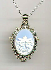 ANTIQUE SILVER Dragonfly Dragon Fly Ivory Wings Blue CAMEO Pendant Necklace SALE