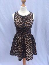 Topshop Size UK 6 estampado de leopardo ajustado y acampanado de buceo Estructurado Vestido XS