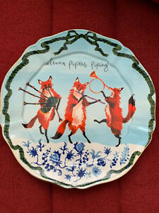 Anthropologie Inslee Fariss Eleven Pipers Piping Plate Christmas Plate New