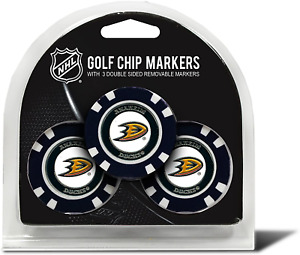 Team Golf Nhl Golf Chip Ball Markers (3 Count), Poker Chip Size With Pop Out Sma