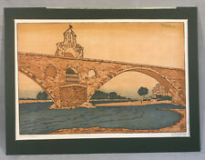 PV05005 Antique Unframed Colored Wood Block Philip Needell LE PONT D'AVIGNON