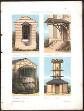 1860 Belle lithographie colombier pavillon vitré architecture art nouveau