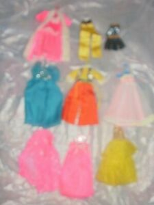 Lot of TEN pieces clothing for Topper Dawn dolls, vintage 1970s, long gowns!