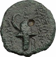 TRYPHON Seleucid King142BC Macedonian Helmet Authentic Ancient Greek Coin i38697
