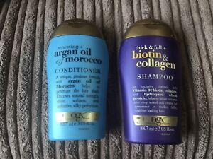 OGX Thick and Full + Biotin Collagen Shampoo &argan Oil Conditioner 88.7ml *2