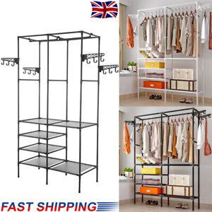 UK Heavy Duty Clothes Rail Rack Hanging Garment Display Stand Shoe Storage Shelf