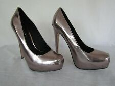 "Aldo Womens Silver Chrome 5 1/2"" High Heel Stiletto Shoes sz 37 (US sz 6.5)"