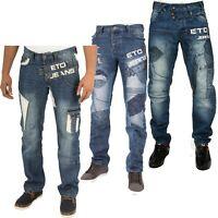 Mens Desinger ETO Straight Leg Jeans Biker Style Funky Trouser Denim PantsW28-48