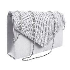Women Satin Diamante Trim Wedding Shoulder Bridal Handbag Evening Clutch Bag CA