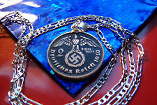 "pre 1939 German War Eagle SILVER REICHSMARKS on a 28"" 925 Sterling Silver Chain"