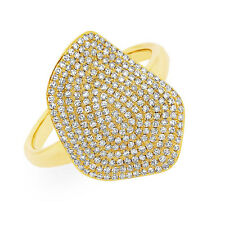 Womens 0.57Ct 14K Yellow Gold Natural Diamond Pave Wavy Cocktail Right Hand Ring