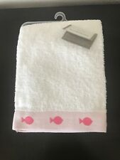 Baby Bath Towel Koala Baby White Pink Fish Trim Infant Newborn 100% Cotton