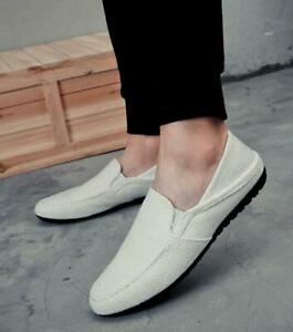 Summer Mens Canvas Casual Low Top Slip On Shoes Loafers Driving Mules Shoes