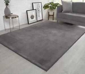 Natural Faux RABBIT FUR Rug Soft Wool Shaggy Thick Large Rugs Carpet Mat Grey