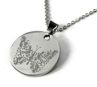 Engraved Necklace Pendant Personalized Name Chain Stainless Gift Women Butterfly