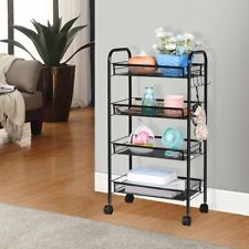 4-Tier Kitchen Cart Utility Cart Wire Rack/Shelves on Wheels Basket with Hooks