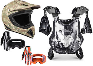 Adult Chest Protector Combo Camo Helmet Gloves Goggles Motocross DOT