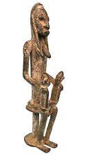 Art Africain - Très Ancienne Maternité en bronze Dogon - Jumeaux - 25,5 Cms ++++