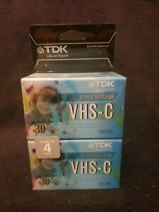 4 Pack TDK VHS-C 30 Min Premium Camcorder Video Cassette Tapes New Sealed