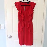 Wayne by Wayne Cooper dress size 10 red ruffles aline elastic waist cocktail