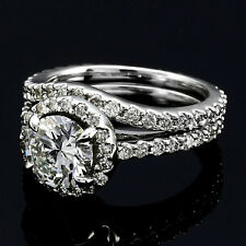 Halo Pave 2.15 Carat VS2/H Round Cut Diamond Engagement Ring Set 14k White Gold