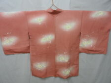 Gradated Coral Pink Silk Japanese HAORI w/Flowers J826