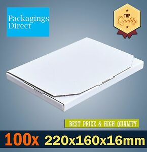 100x Mailing Box Superflat  220 x 160 x 16mm A5 C5 Rigid Box Flat Mailer