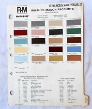 1979 LINCOLN  AND FORD THUNDERBIRD R-M COLOR PAINT CHIP CHART ALL MODELS