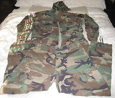 US Army Woodland Camouflage Fatigues Jacket Large-Long Pants Large-Reg Hat 7 3/8
