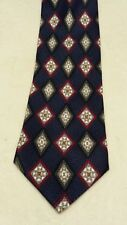 Men's Fashion Neckwear blue diamond print necktie 100% silk NWOT