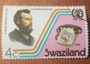 GM38 SWAZILAND 1976 TELEPHONE CENTENARY 4C GRAHAM BELL USED STAMP