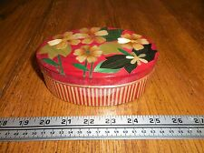 Oval Balsa Wood Covered Box lacquered Lid Flowers