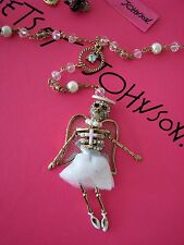 "BETSEY JOHNSON ""ANGEL DEVIL"" WHITE ANGEL SKELETON PENDANT ROSARY NECKLACE~NWT"