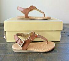 Nib Girls Yth Michael Kors Tilly Jane Cognac Saffiano Gold Plate Sandals Mult Sz