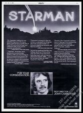 1985 John Carpenter photo Starman movie trade print ad
