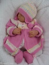 Baby Knitting Pattern DK #57 TO KNIT Girls Cardigan Hat Bootees Reborn Dolls