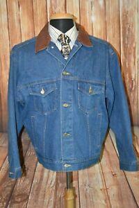 Marlboro Country Store Men's Leather Collar Blue Denim Button Up Jacket Sz M