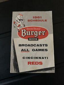 1961 Cincinnati Reds Burger Beer Baseball Schedule
