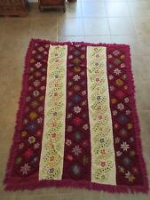 VINTAGE HAND KNITTED & CROSS STITCHED HEAVY WOOL BLANKET COVERLET RARE GREECE