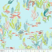 By 1/2 Yard Blend Fabric Cori Dantini Mermaid Days At the Bottom of the Sea Aqua